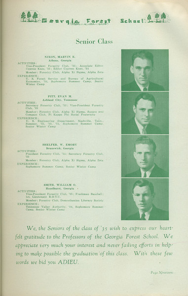The Cypress Knee, 1935, Senior Class, Mavin E. Nixon, Evan M. Pitt, Emory W. Shelfer, William O. Smith, pg. 19