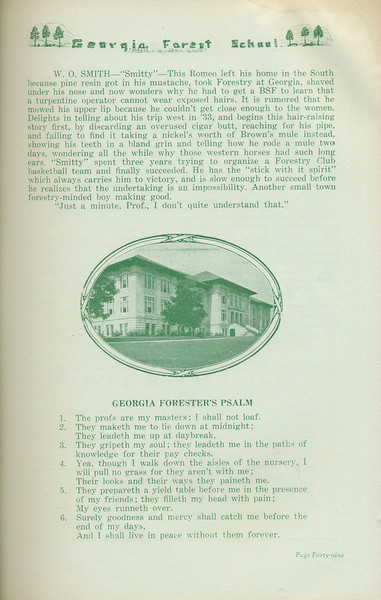 """The Cypress Knee, 1935, """"Seniors 'tenshun!"""" (continued), W. O. Smith, """"Georgia Forester's Psalm"""", pg. 49"""