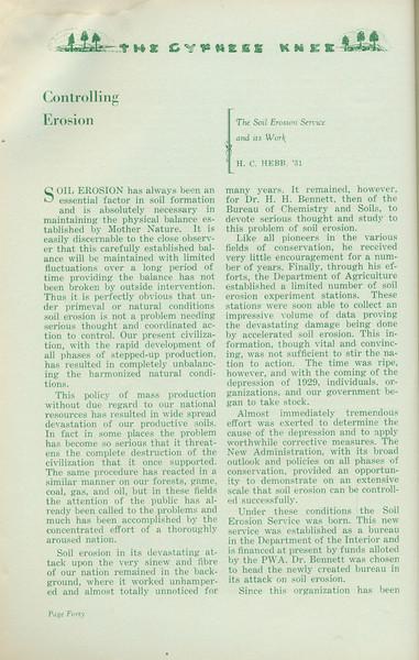 "The Cypress Knee, 1935, ""Controlling Erosion"", H. C. Hebb, pg. 40"