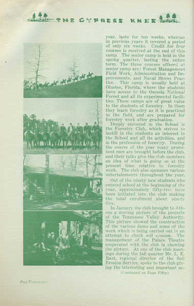 """The Cypress Knee, 1935, """"The Forestry School of Today"""" (continued), W. Emory Shelfer, pg, 22"""