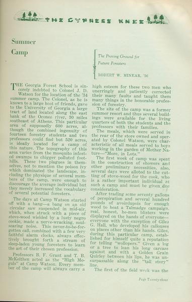 "The Cypress Knee, 1935, ""Summer Camp"", Robert W. Minear, pg. 23"