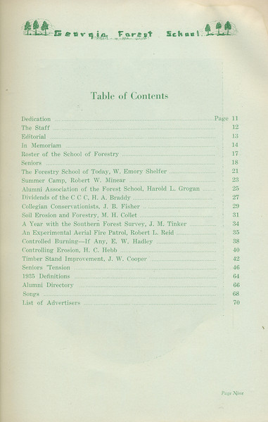 The Cypress Knee, 1935, Table of Contents, pg. 9
