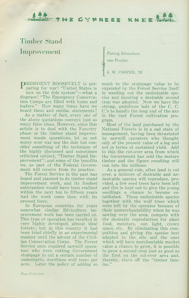 """The Cypress Knee, 1935, """"Timber Stand Improvement"""", J. W. Cooper, pg. 42"""