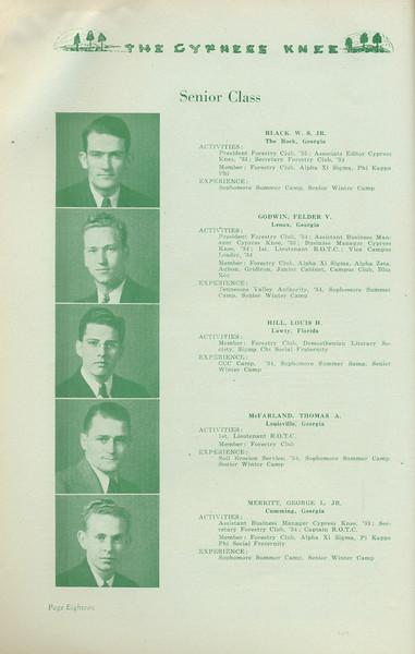 The Cypress Knee, 1935, Senior Class, W. S. Black, Felder V. Godwin, Louis H. Hill, Thomas A. McFarland, George L. Merritt, pg. 18
