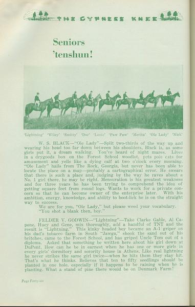 """The Cypress Knee, 1935, """"Seniors 'tenshun!"""", W. S. Black, Felder V. Godwin, pg. 46"""
