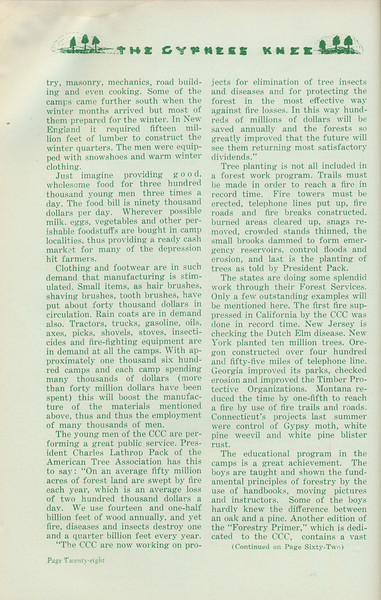 """The Cypress Knee, 1935, """"Dividends of the CCC"""" (continued), H. A. Braddy, pg. 28"""