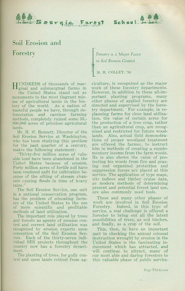 """The Cypress Knee, 1935, """"Soil Erosion and Forestry"""", M. H. Collet, pg. 31"""
