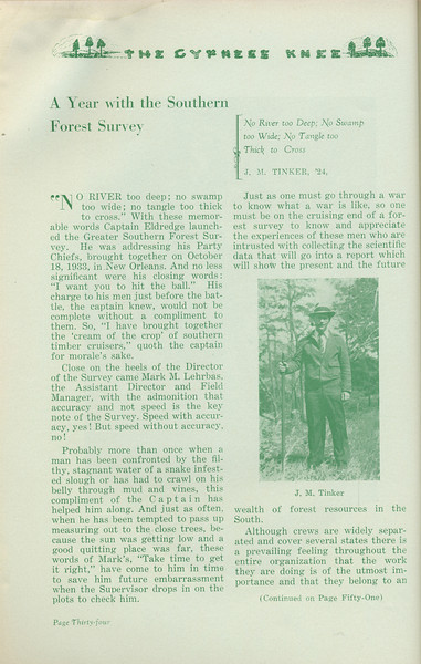 """The Cypress Knee, 1935, """"A Year with the Southern Forest Survey"""", J. M. Tinker, pg. 34"""
