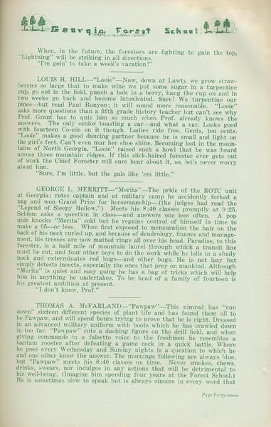 """The Cypress Knee, 1935, """"Seniors 'tenshun!"""" (continued), Louis H. Hill, George L. Merritt, Thomas A. McFarland, pg. 47"""