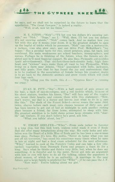 "The Cypress Knee, 1935, ""Seniors 'tenshun!"", M. E. Nixon, Evan M. Pitt, W. Emory Shelfer, pg. 48"