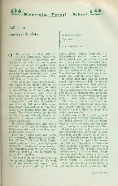 """The Cypress Knee, 1935, """"Collegian Conservationists"""", J. B. Fisher, pg. 29"""