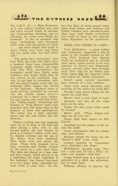 "The Cypress Knee, 1936, ""Sophomore Summer Camp"" (continued), H. A. Brady, pg. 24"