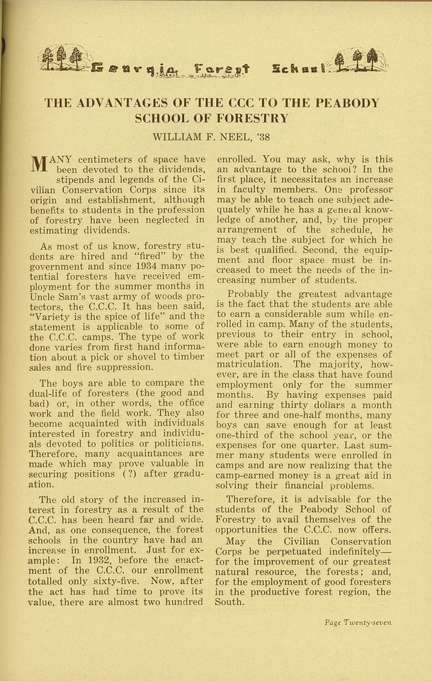 "The Cypress Knee, 1936, ""The Advantages of the CCC to the Peabody School of Forestry"", William F. Neel, pg. 27"