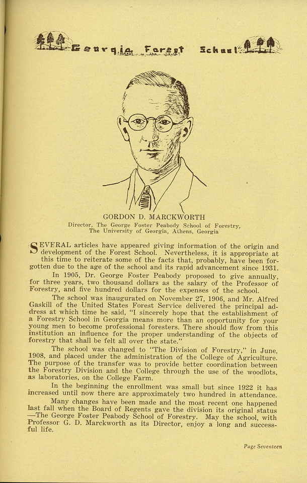 The Cypress Knee, 1936, Gordon D. Marckworth, Director of the George Foster Peabody School of Forestry, pg. 17