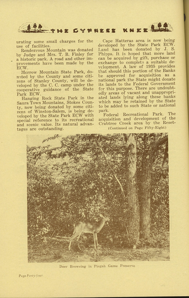 "The Cypress Knee, 1936, ""A Land Polic for North Carolina"" (continued), J. S. Holmes, ""Dear Browsing in Pisgah Game Preserve"", pg. 44"