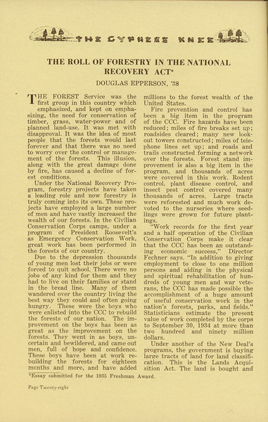"The Cypress Knee, 1936, ""The Roll of Forestry in the National Recovery Act"", Douglas Epperson, pg. 28"