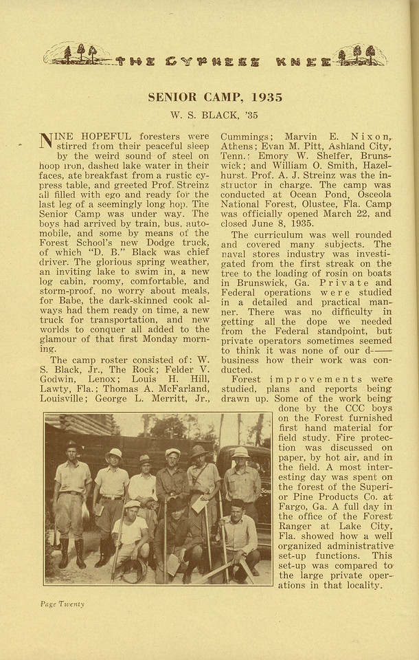 "The Cypress Knee, 1936, ""Senior Camp, 1935"", W. S. Black, pg. 20"