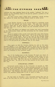 "The Cypress Knee, 1936, ""Athletics in the Forest School"" (continued), Track, Football, Baseball, Intrmural Sports, Touch Football, pg. 33"