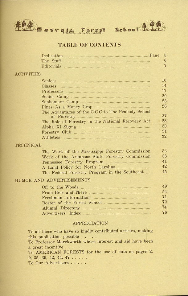 The Cypress Knee, 1936, Table of Contents, pg. 3