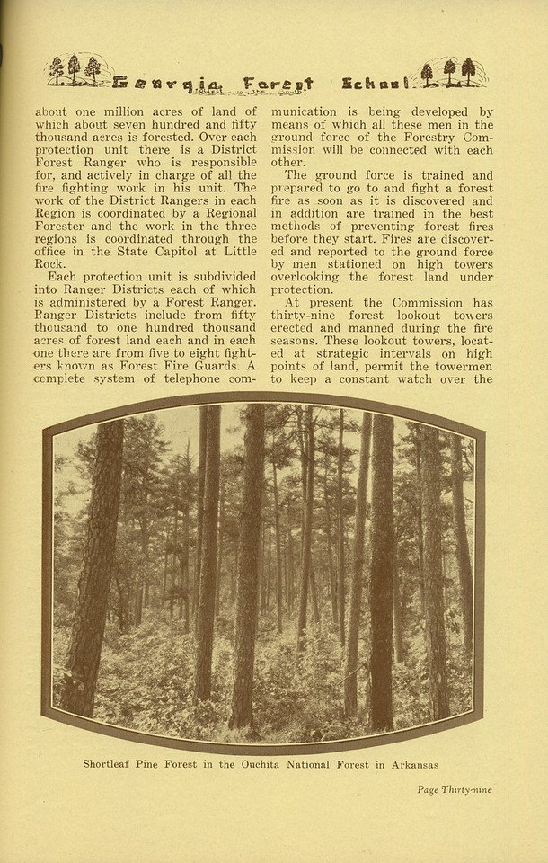 "The Cypress Knee, 1936, ""Work of the Arkansas State Forestry Commission"" (continued), Charles A. Gillett, ""Shortleaf Pine Forest in the Ouchita National Forest in Arkansas"", pg. 39"