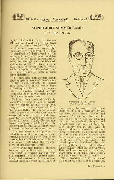"The Cypress Knee, 1936, ""Sophomore Summer Camp"", H. A. Brady, Professor B. F. Grant, pg. 23"