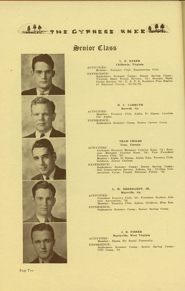 The Cypress Knee, 1936, Senior Class, L. E. Baker, H. C. Carruth, Thad Childs, L. W. Eberhardt, J. B. Fisher, pg. 10