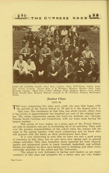 The Cypress Knee, 1936, Junior Class Page, pg. 14