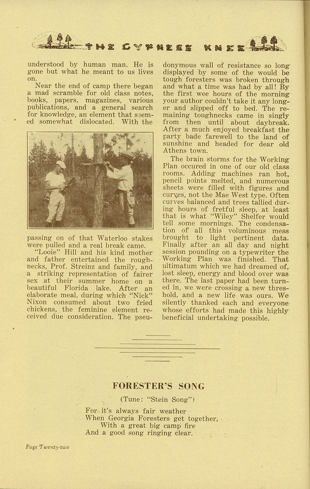"The Cypress Knee, 1936, ""Senior Camp, 1935"" (continued), W. S. Black, ""Forester's Song"", pg. 22"
