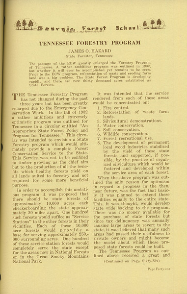 "The Cypress Knee, 1936, ""Tennessee Forestry Program"", James O. Hazard, pg. 41"
