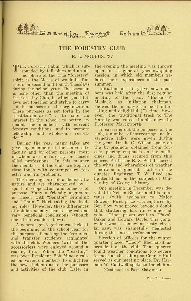 "The Cypress Knee, 1936, ""The Forestry Club"", E. L. Molpus, pg. 31"