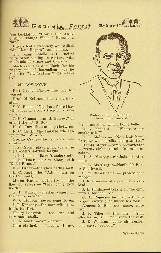 "The Cypress Knee, 1935, ""Sophomore Summer Camp"" (continued), H. A. Braddy, ""Camp Lowdown"", pg. 25"