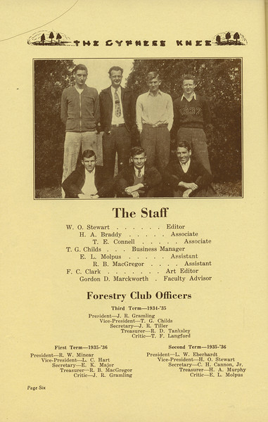 The Cypress Knee, 1936, Staff Page, Forestry Club Officers, W. O. Stewart, H. A. Braddy, T. E. Connell, T. G. Childs, E. L. Molpus, R. B. MacGregor, F. C. Clark, Gordon D. Marckworth, J. R. Gramling, T. G. Childs, J. R. Tiller, R. D. Tanksley, T. F. Langford, R. W. Minear, L. C. Hart, E. K. Major, R. B. MacGregor, L. W. Eberhardt, H. O. Stewart, C. H. Cannon Jr., H. A. Murphy, pg. 6