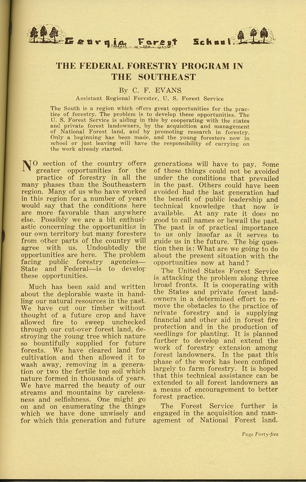 "The Cypress Knee, 1936, ""The Federal Forestry Program in the Southeast"", C. F. Evans, Pg. 45"