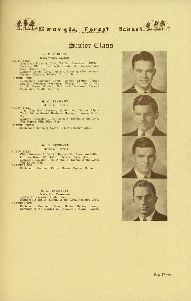 The Cypress Knee, 1936, Senior Class, A. R. Shirley, H. O. Stewart, W. O. Stewart, R. D. Tanksley, pg. 13
