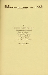 The Cypress Knee, 1936, Dedication, George Foster Peabody, pg. 5