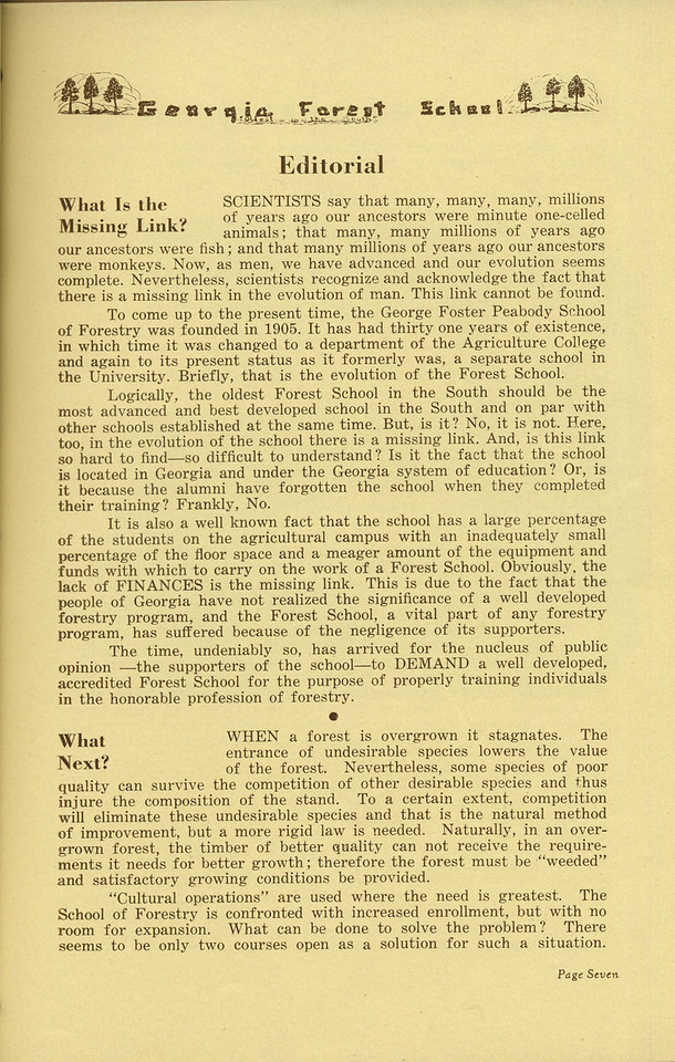 "The Cypress Knee, 1936, Editorials, ""What is the Missing Link?"", ""What Next?"", pg. 7"
