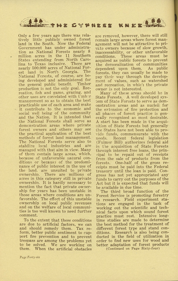 "The Cypress Knee, 1936, ""The Federal Forestry Program in the Southeast"" (continued), C. F. Evans, pg. 46"