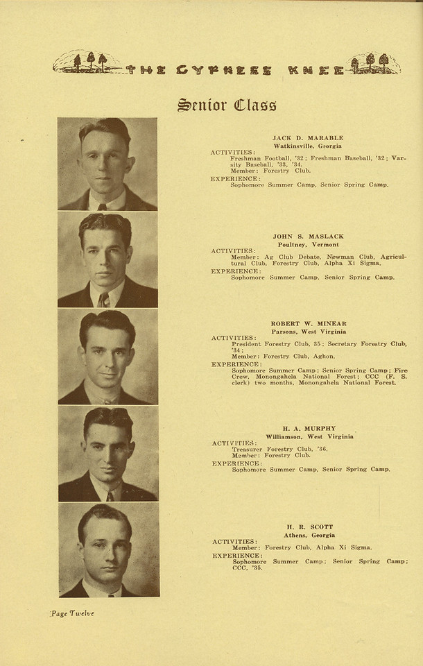 The Cypress Knee, 1936, Senior Class, Jack D. Marable, John S Maslack, Robert W. Minear, H. A. Murphy, H. R. Scott, pg. 12