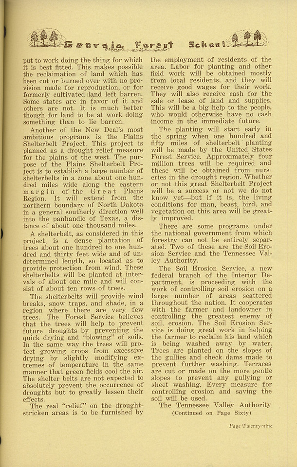 "The Cypress Knee, 1936, ""The Roll of Forestry in the National Recovery Act"" (continued), Douglas Epperson, pg. 29"