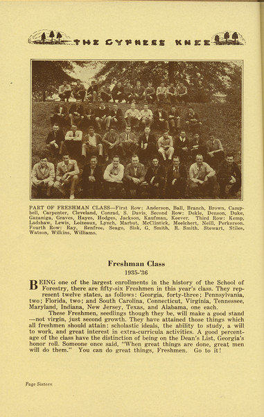 The Cypress Knee, 1936, Freshman Class Page, pg. 16