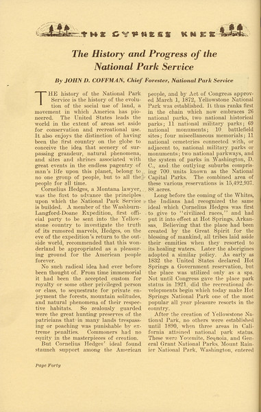 """The Cypress Knee, 1937, """"The History and Progress of the National Park Service"""" John D. Coffman, pg. 40"""
