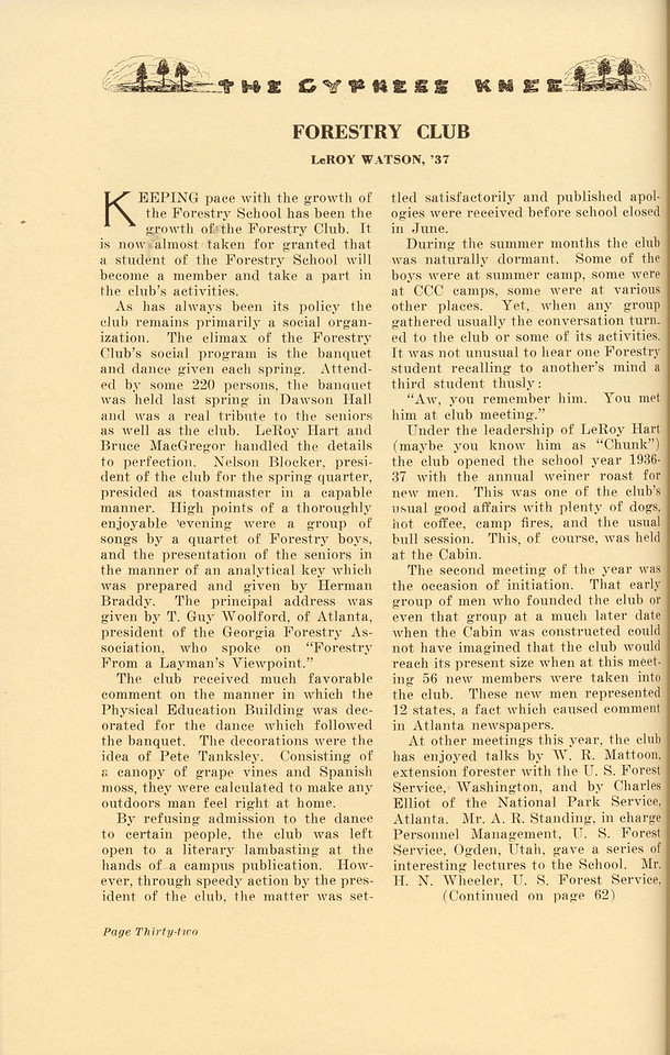 """The Cypress Knee, 1937, """"Forestry Club"""", Leroy Watson, pg. 32"""
