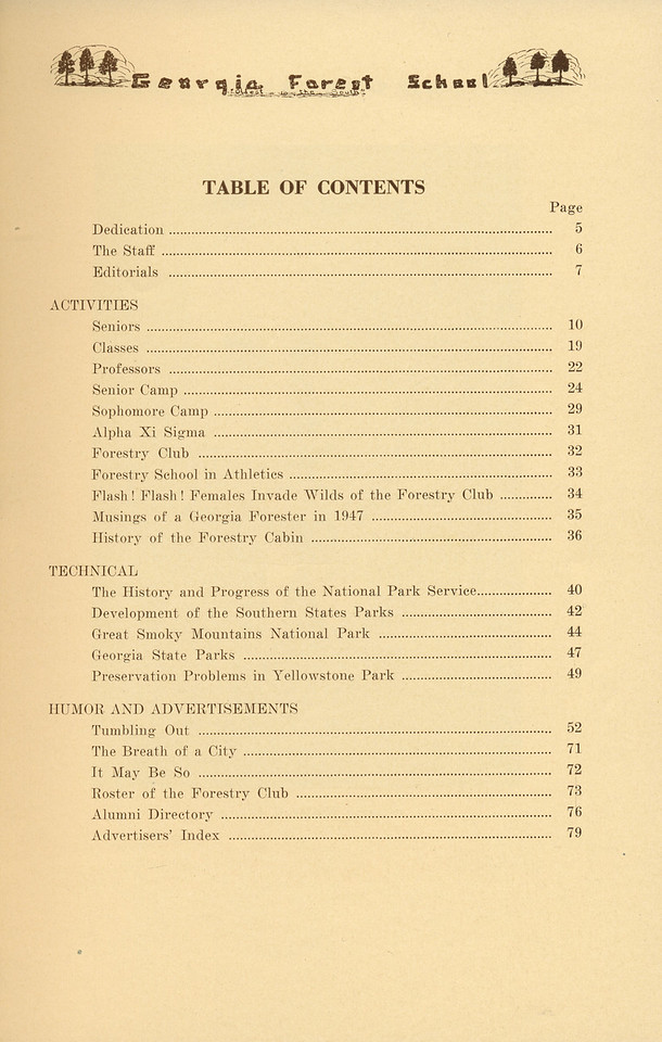 The Cypress Knee, 1937 Table of Contents, pg. 3