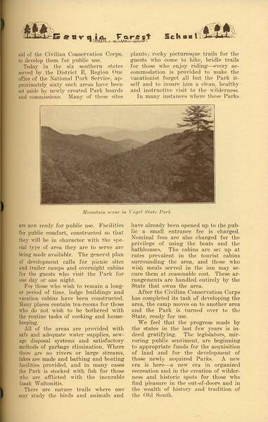 """The Cypress Knee, 1937, """"Development of Southern States Parks"""" (continued), Charles Newton Elliot, """"Mountain Scene in Vogel State Park"""", pg. 43"""