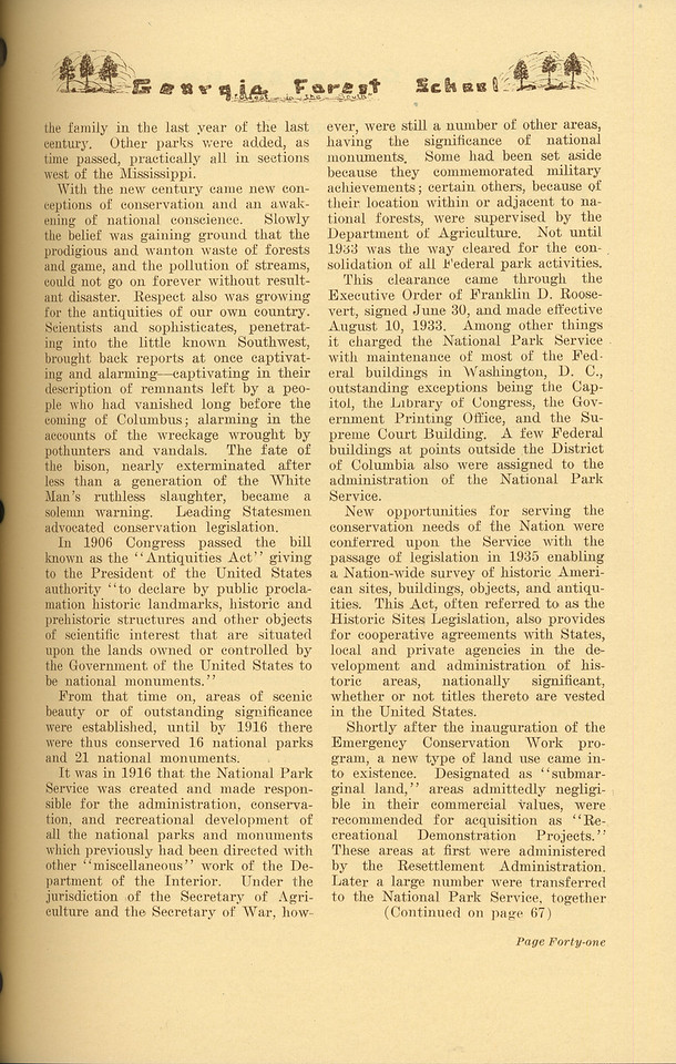 """The Cypress Knee, 1937, """"The History and Progress of the National Park Service"""" (continued), John D. Coffman, pg. 41"""