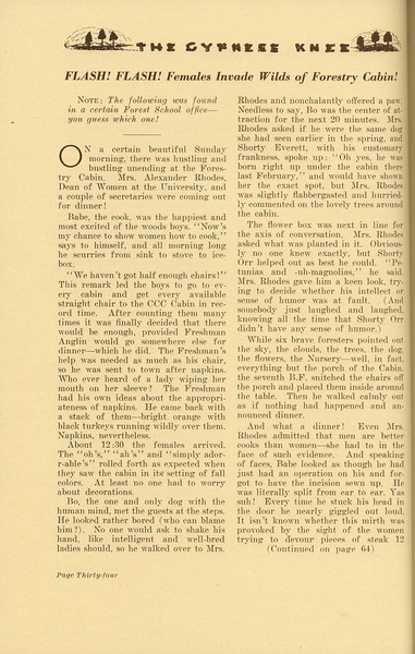 """The Cypress Knee, 1937, """"Flash! FLash! Females Invade Wilds of Forestry Cabin"""", pg. 34"""