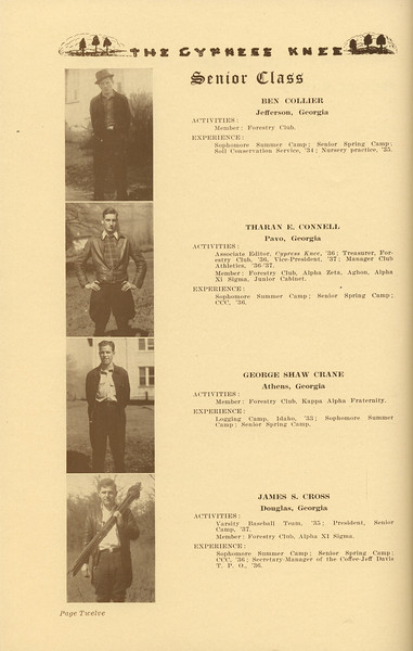 The Cypress Knee, 1937, Senior Class (continued), Ben Collier, Tharan E. Connell, George Shaw Crane, James S. Cross, pg. 12