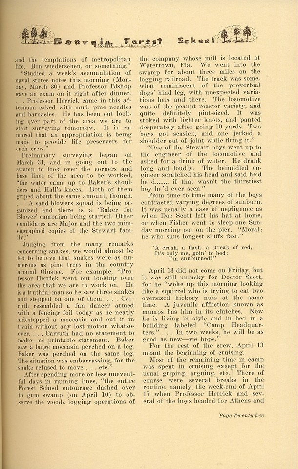 """The Cypress Knee, 1937, """"1936 Senior Forestry Camp"""", pg. 25"""