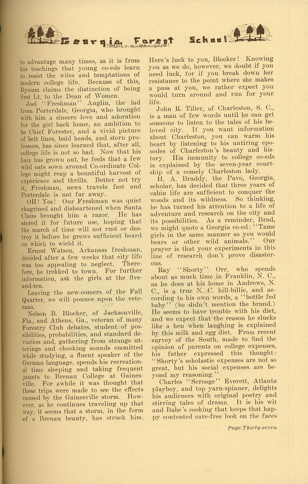 """The Cypress Knee, 1937, """"History of the Forestry Cabin"""" (continued), Richard C. Allen, pg. 37"""