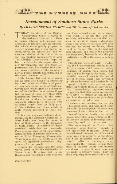 """The Cypress Knee, 1937, """"Development of Southern States Parks"""", Charles Newton Elliot, pg. 42"""